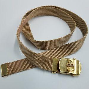US Navy Brass Buckle Woven Gold Nylon Slide Belt